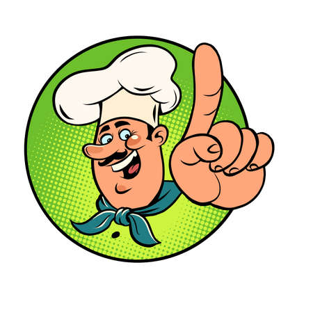 Man chef in a white cap. Smiling face. Gesture index finger up, attention