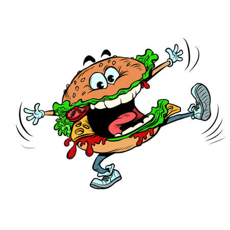 Funny burger character. Joyful fast food. isolate on a white background Ilustracja