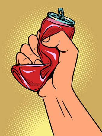a hand crushes a tin can, the topic of ecology and garbage recycling. Container from the drink