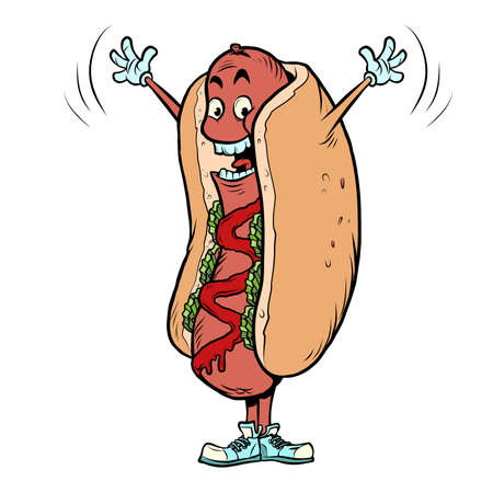 happy joyful positive hot dog fast food funny mascot character, restaurants and street food