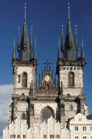 tynsky church: Church of Our Lady before Tyn, early gothic church  also Tynsky Temple  is a dominant feature of the Old Town of Prague, Czech Republic