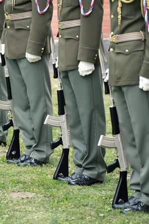 Row of soldiers in festive uniforms Czech Army