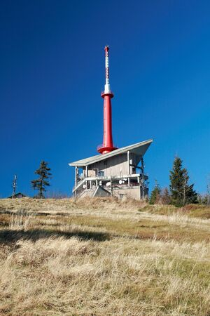 Television Transmitter on the top of Lysa Hora, the highest mountain of Beskydy, Czech Republic   Stock Photo