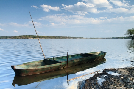 Fishing Boat on the Pond Rozmberk Stock Photo