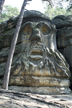 Devils Heads - work of the sculptor Vaclav Levy carved into the sandstone rocks in the first half of the 19th century near village Zelizy in Czech Republic.