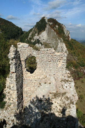Vr?atec Castle - Ruins of the medieval castle in the White Carpathians mountain range, near the village vratsk? podhradie, Slovakia.