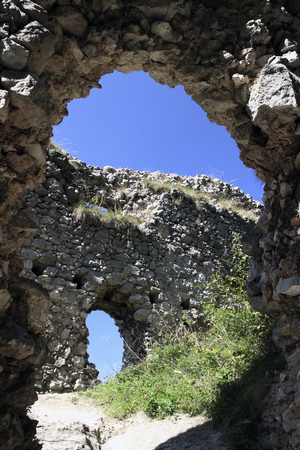 Remains of the Castle Vratec. Ruins of the medieval castle in the White Carpathians mountain range, near the village vratsk? podhradie, Slovakia. Stock Photo
