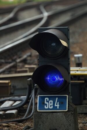 Shunting railway semaphore with blue light, Czech Republic. Stock Photo