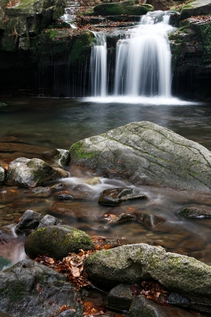 Water Cascade Creek on Satina in Beskydy Mountains, Czech Republic.