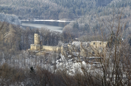 The Cimburk castle - ruins of the gothic castle from the 14th century in the Chrys Mountains near Korycany, Czech Republic.