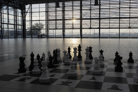 A big chess in the departure hall of the Prague Airport, Czech Republic.