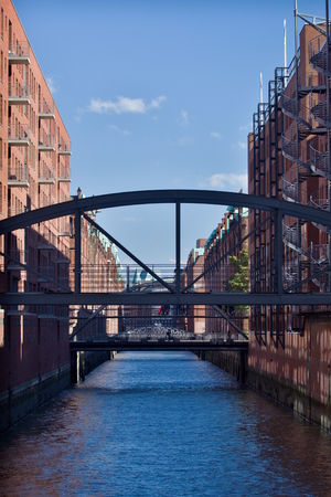 Reconstructed buildings of former warehouses in Speicherstadt - the largest historic warehouse in the world, located in the HafenCity quarter, Hamburg.