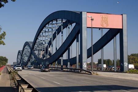 New Elbe Bridge (Neue Elbbrucke) - a modern road steel bridge across the Elbe River in Hamburg. Stock Photo