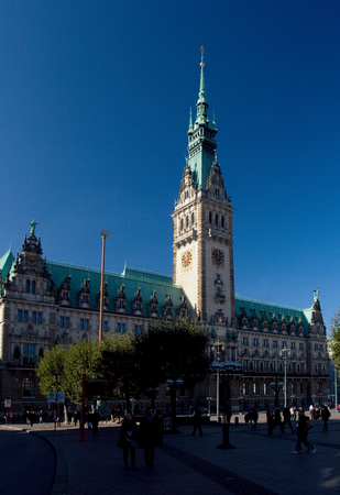 Town Hall in Hamburg, Germany. The building was built in 19th century and is the seat of the Hamburg government and the First Mayor.