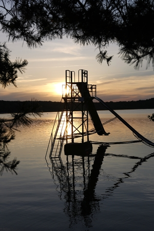 Water Chute at Lake Macha (Czech: M?chovo jezero) - an artificial lake (fish pond) in the Liberec Region - a traditional holiday destination in the Czech Republic.