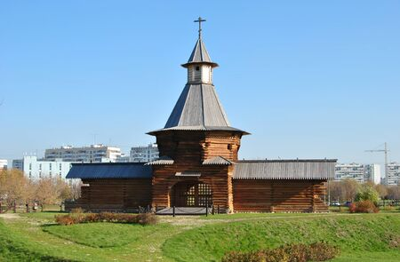 Russian traditional wooden church