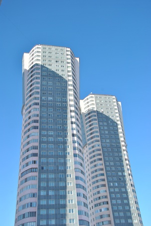 Modern high-rise apartment buildings in Moscow
