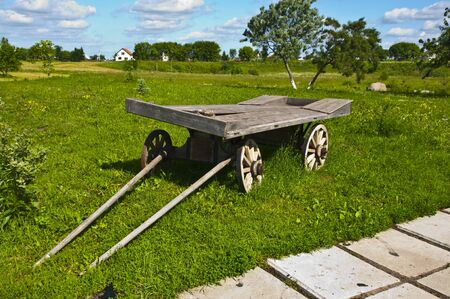 The cart in the rural landscape photo