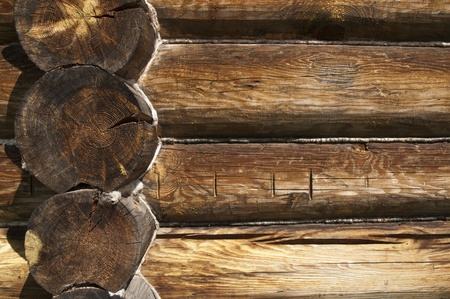 House wall made ​​of wooden logs photo