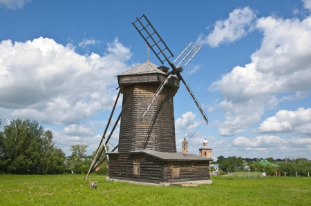 Old wooden windmill photo