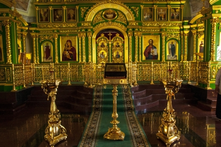 The iconostasis and altar of the Russian Orthodox Church