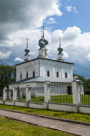 Medieval Orthodox white stone church Stock Photo
