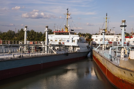 Cargo ship moored on the River