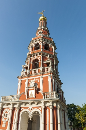 Orthodox church with a bell tower in the Russian baroque style Stock Photo