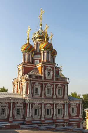 Orthodox church with a bell tower in the Russian baroque style photo