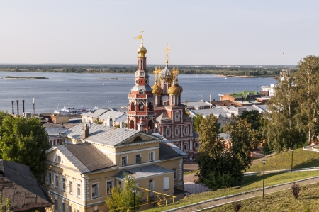Orthodox church with a bell tower in the Russian baroque style