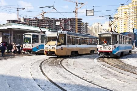 Russian trams stop Stock Photo - 17025312
