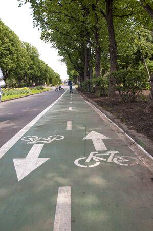 bike path with markings