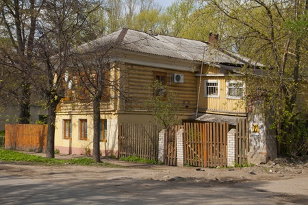 wooden house in Russian province Editorial