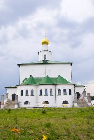 Temples and walls of the Orthodox monastery in Golutvino Stock Photo