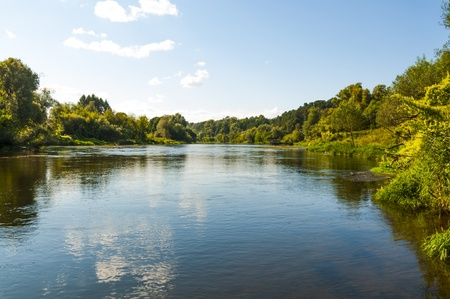 Autumnal forest and river in the Moscow region Stock Photo
