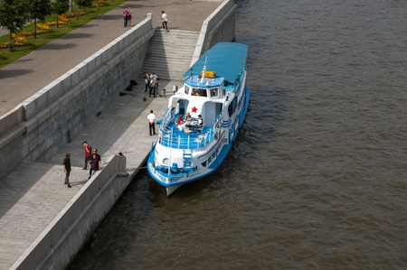 Pleasure boat on the Moscow River Stock Photo - 17585892