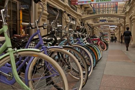 Bikes in a shop window Editorial