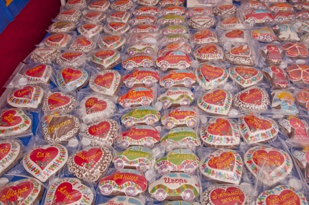 Russian Souvenir cakes on display photo