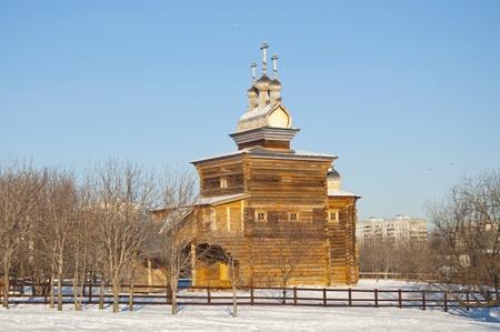 Wooden church in Kolomenskoye amid snowy plains