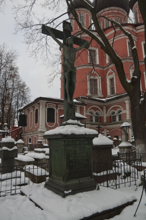 the old Russian cemetery in the winter photo