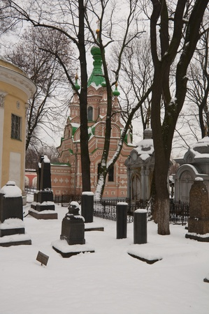 the old Russian cemetery in the winter