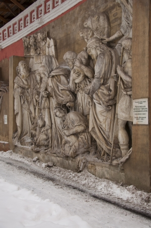 Antique bas-reliefs depicting biblical and Christian