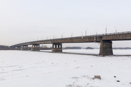 Bridge on the River Irtysh Omsk winter Stock Photo