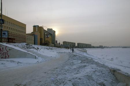 Winter embankment in Omsk winter