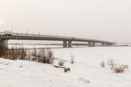 Bridge on the River Irtysh Omsk winter photo