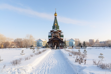 novosibirsk: Russia  Omsk  Siberia  The Orthodox Church of the cold snowy field