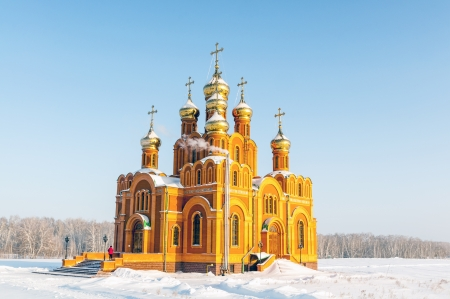 Russia  Omsk  Siberia  The Orthodox Church of the cold snowy field