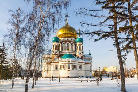 Uspesky Cathedral in Omsk winter Stock Photo