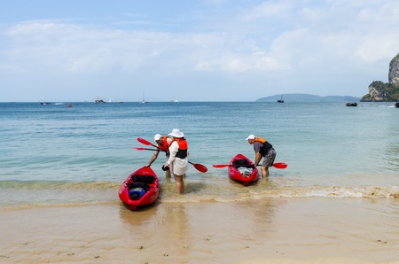 Kayakers landed on the beach of Thailand Stock Photo - 18451094