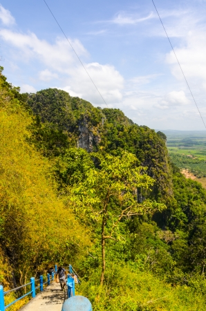 Thailand View of the fields and mountains of Krabi from the mountain cave monastery tiger